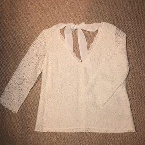 Sézane White Lace Top
